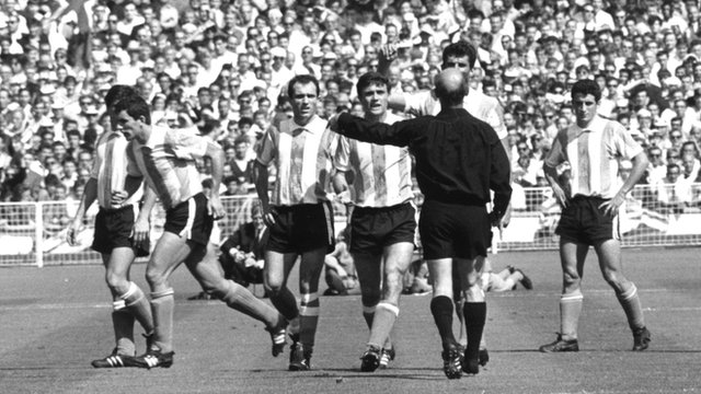 Argentina's Antonio Rattin is sent off against England at Wembley