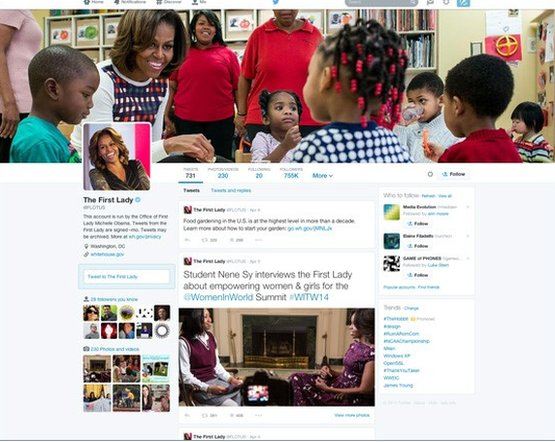 Twitter page of Michelle Obama