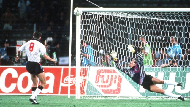 England's Chris Waddle misses his penalty against West Germany