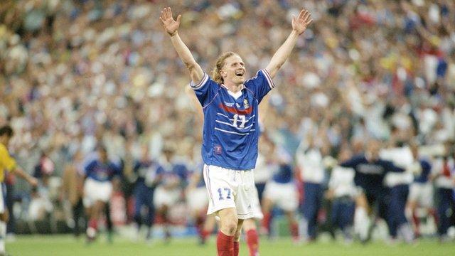 Emmanuel Petit celebrates after scoring for France against Brazil