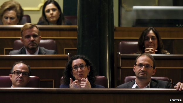 Representatives of Catalan Parliament in Madrid parliament on 8 April 2014