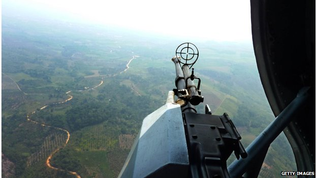 View from a military helicopter searching the Peruvian countryside for drug production