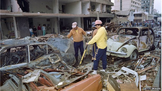 The aftermath of a car bomb attack in Lima in 1992, blamed on Shining Path guerrillas