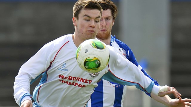 Match action from Coleraine against Ballymena United