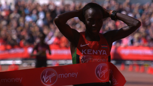 Edna Kiplagat wins the elite women's race at the 2014 London Marathon