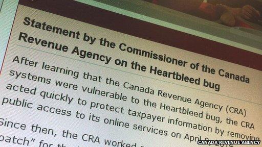 Canada Revenue Agency screenshot