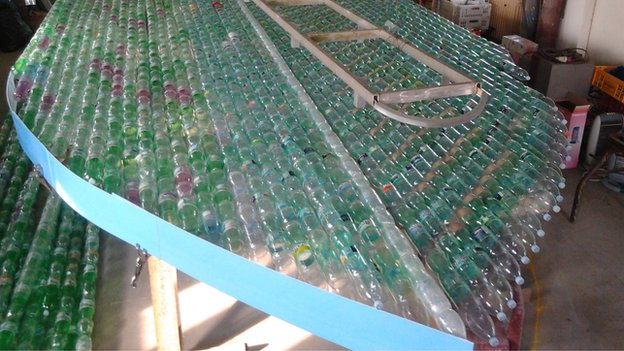 Boat made of out bottles