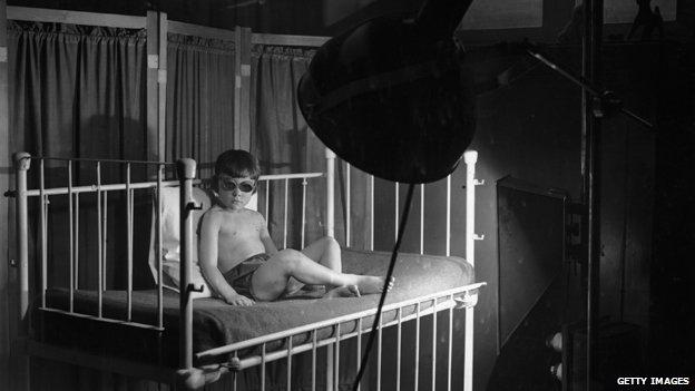 Child under a sun lamp, 1920s