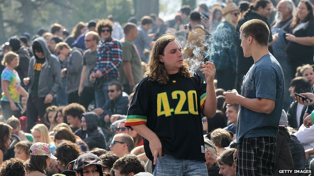 Smoker at a 420 celebration in Golden Gate Park, San Francisco, 20 April 2010