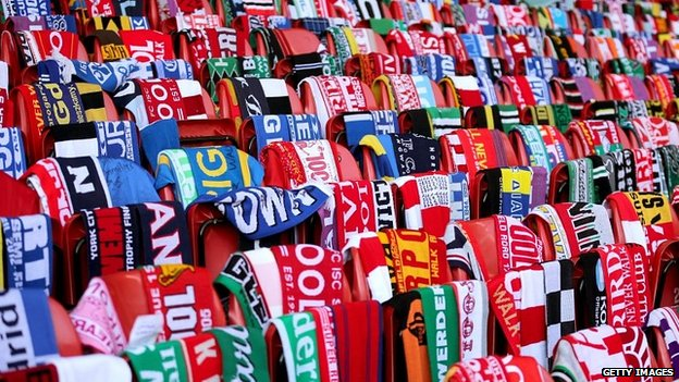 96 seats with scarves draped over them