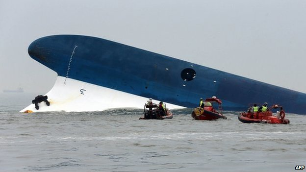 South Korea Coast Guard members search near a South Korean ferry after it capsized on its way to Jeju island from Incheon on 16 April 2014