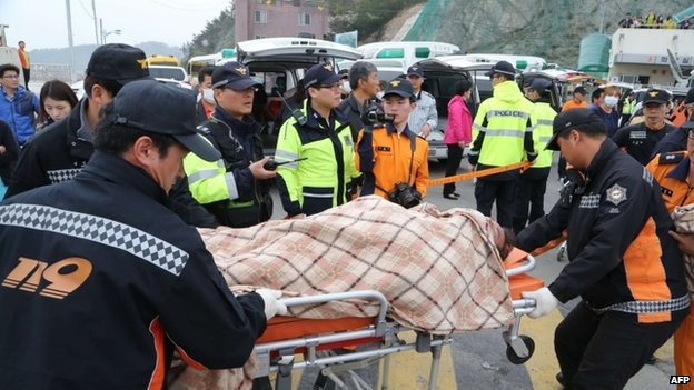 Rescued passengers are brought to land in Jindo after a South Korean ferry carrying 476 passengers and crew sank on its way to Jeju island on 16 April 2014