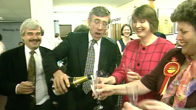 The Labour party celebrate their success in the 1994 European elections