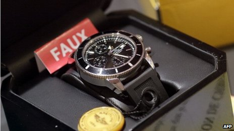 A fake Breitling watch on display in Paris