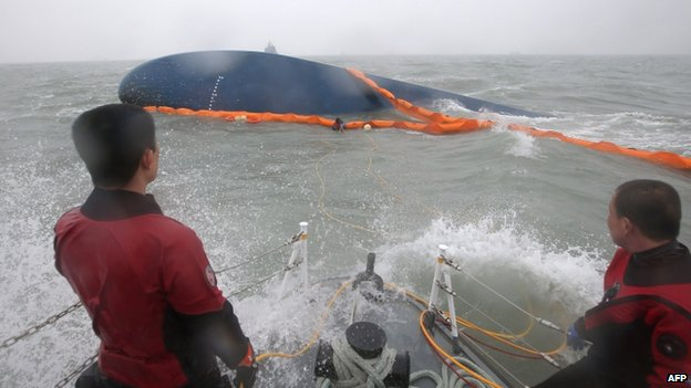 Rescuers near hull of boat