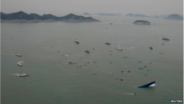 Arial view of the site of the ferry sinking