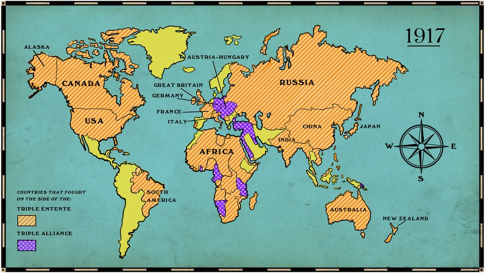 World map showing the countries involved in WW1 in 1917