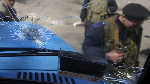Evidence of clashes in Mariupol, eastern Ukraine, were clearly visible the day after
