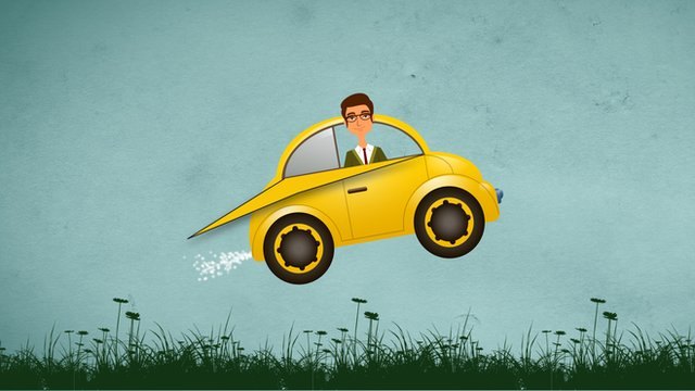 Illustration of flying car