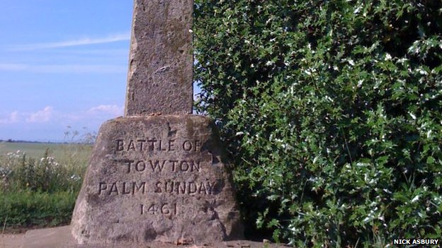 A stone marking the Battle of Towton