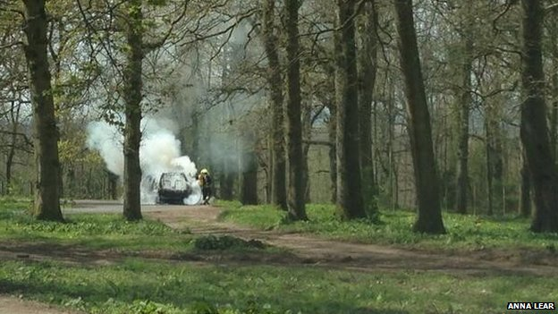Car fire at Longleat