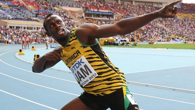 """Jamaicas Usain Bolt celebrates after winning the men""""s 4x100 metres relay final at the 2013 IAAF World Championships in Moscow on August 18, 2013."""