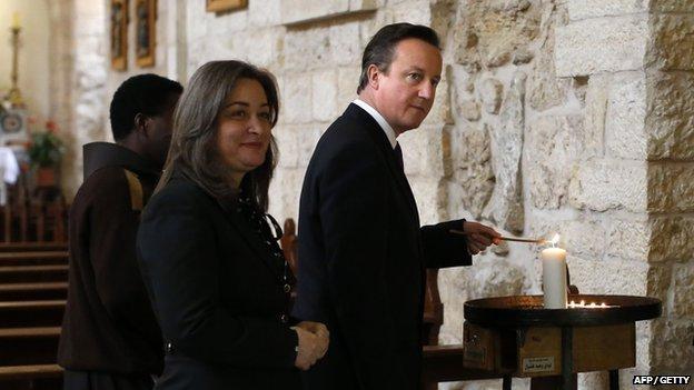 David Cameron in Bethlehem in March 2014
