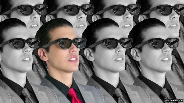 Men in 3D glasses in black and white