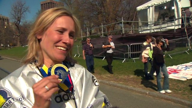 Sophie Raworth with her Boston marathon medal