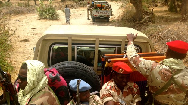 Custom police and national guards on patrol along the border with Nigeria in Diffa region.