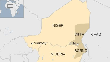 Map of Niger and Nigeria