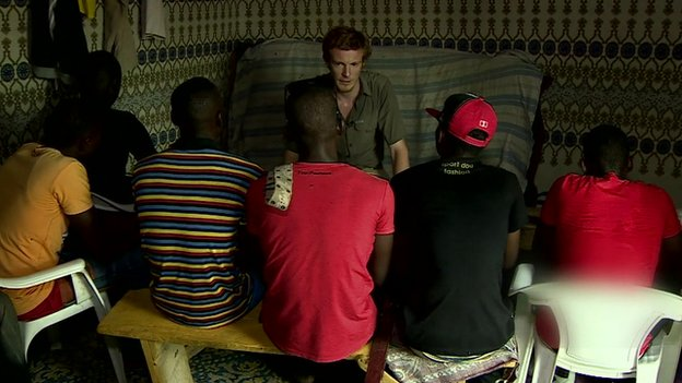Gang members in Diffa talking to the BBC's Thomas Fessy, Niger