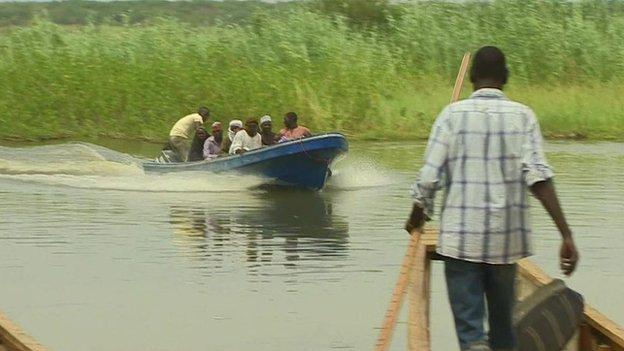 A boat on Lake Chad, Niger