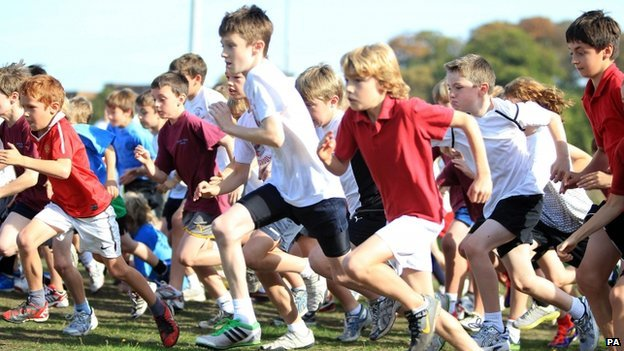Seven-year-olds competing in sport