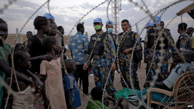 UN soldiers patrol in the UN camp in Malakal, South Sudan - 18 March 2014