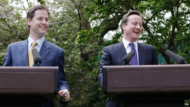 Nick Clegg and David Cameron in the Downing Street rose garden in 2010