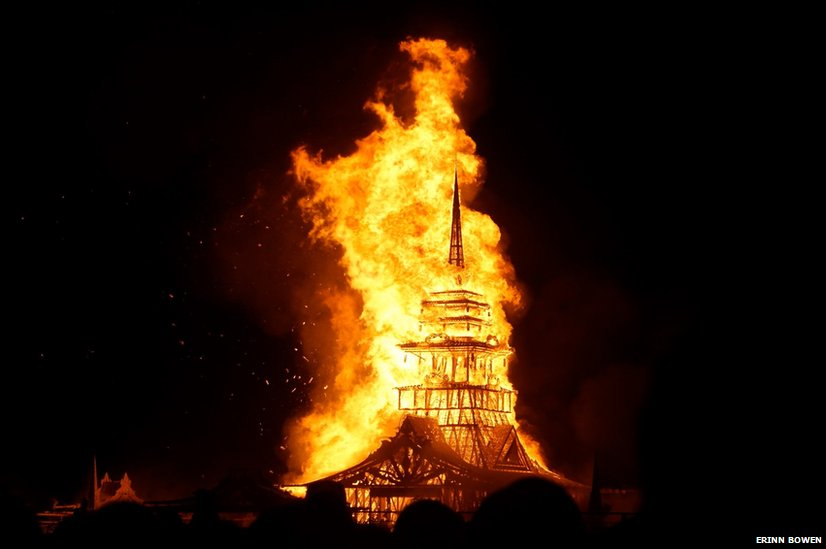 A temporary monument is destroyed at the Burning man festival