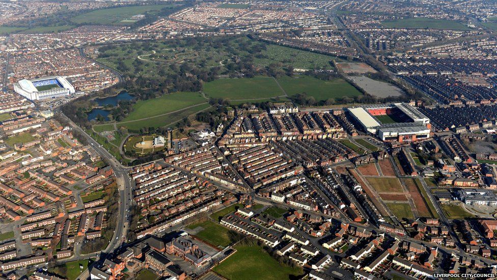 Aerial view of Stanley Park, Liverpool, showing the Liverpool FC and Everton FC grounds