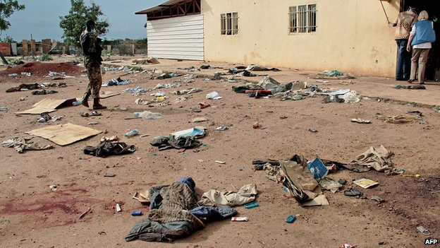 Debris outside the Kali-Ballee Mosque in the oil town of Bentiu, Unity State, on 15 April 2014.