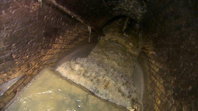 A 'fatberg' blocks a sewer