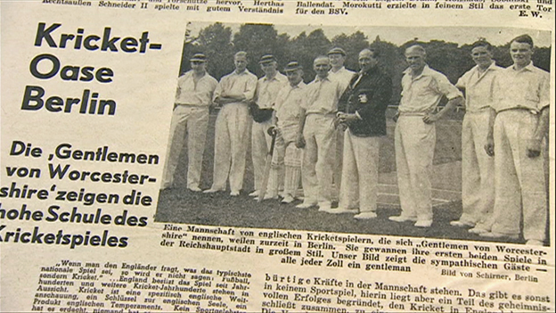 """German newspaper of the time advertising the tour by the """"gentlemen von Worcestershire"""""""