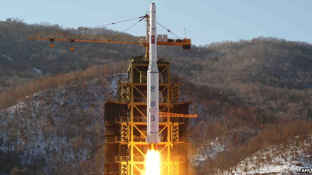 This picture taken by North Korea's official Korean Central News Agency (KCNA) on 12 December 2012 shows North Korean rocket Unha-3, carrying the satellite Kwangmyongsong-3, lifting off from the launching pad in Cholsan county, North Pyongyang province in North Korea