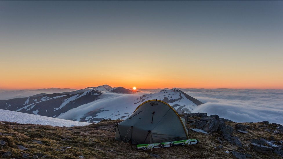 Sunrise over the Grey Corries from the south east ridge of Aonach Beag.