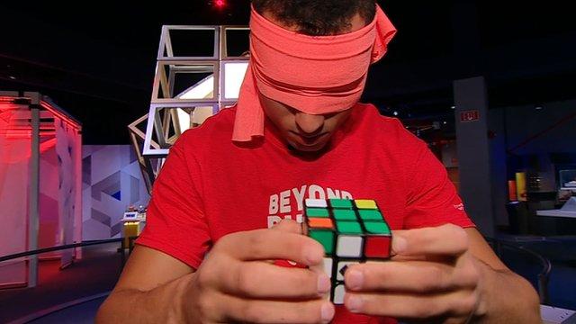 Anthony Brooks solving Rubik's Cube while blindfolded