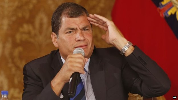 Ecuador's President Rafael Correa in a January 22, 2014, file photo.