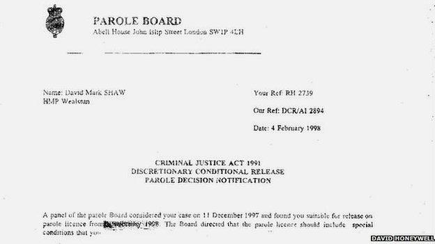 David Honeywell's parole form