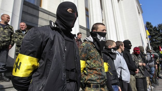 Right Sector activists outside parliament in Kiev, 28 Mar 14