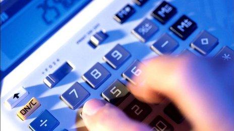Hand on calculator