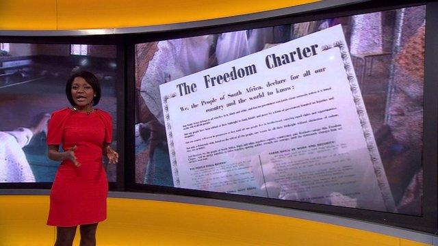 Lebo Diseko with Freedom Charter graphic