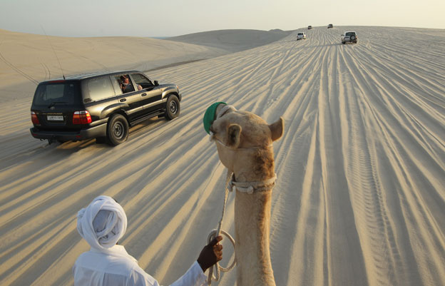 Camel and SUVs in Umm Sa'id